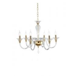 Sospensione Palladio 6 Luci cristallo oro Ondaluce