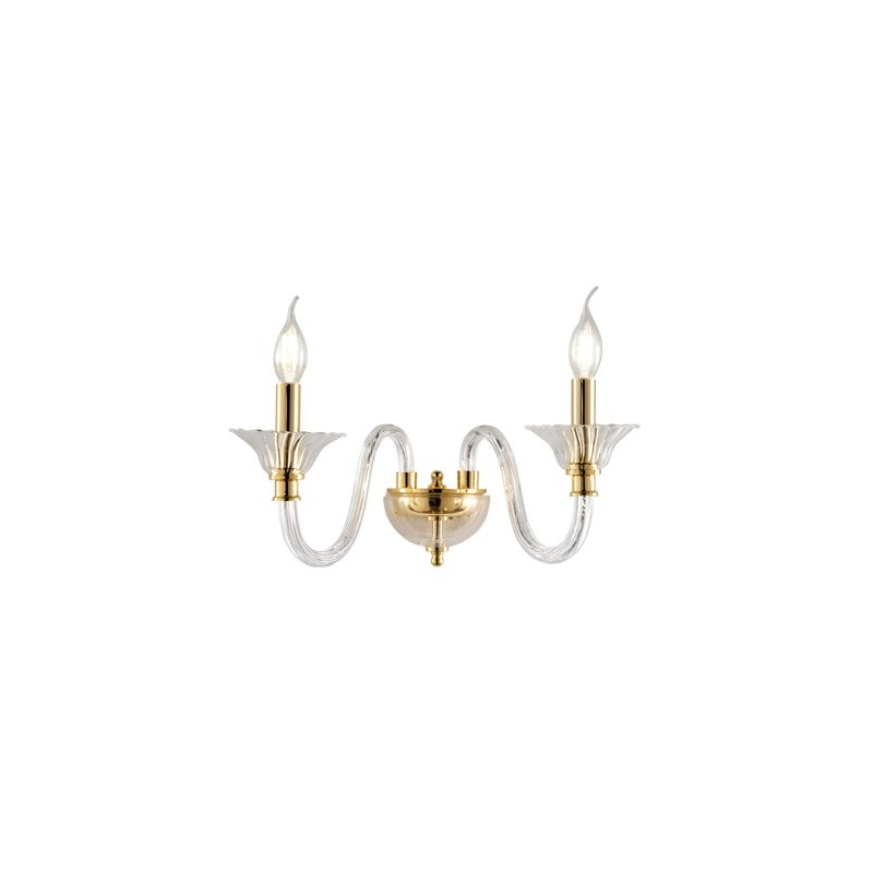 Applique Palladio 2 Luci cristallo oro Ondaluce