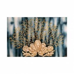 """Quadro a tema marino dipinto a mano su tela """"Corallo con Conchiglia"""" 120x80 Art Maiora"""