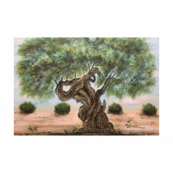 "Quadro in stile moderno dipinto a mano su tela ""Ulivo Rosa"" 120x80 Art Maiora"