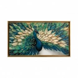 "Quadro moderno con animali dipinto a mano su tela ""Vanity"" 130x70 Art Maiora"