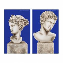 """Quadro moderno figurativo set 2pz dipinto a mano su tela """"Eterno Amore"""" 65x110  Art Maiora"""