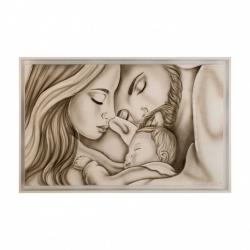 """Capezzale dipinto a mano su tela per camera da letto """"Legame di vita"""" 110x65 Art Maiora"""