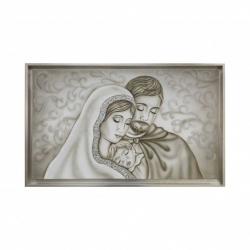 """Capezzale moderno dipinto a mano su tela """"Radice Argento"""" 110x65 Art Maiora"""