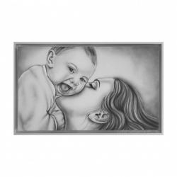 """Capezzale moderno dipinto a mano su tela con la maternità """"Gaia"""" 110x65 Art Maiora"""