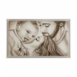 """Capezzale moderno dipinto a mano su tela con la sacra famiglia """"Gaia"""" 110x65 Art Maiora"""